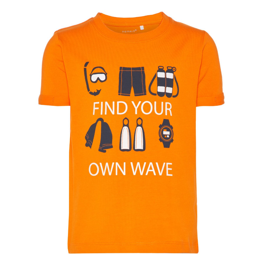 NAME IT Boys Bluzka z krótkim rękawkiem Vux shocking orange