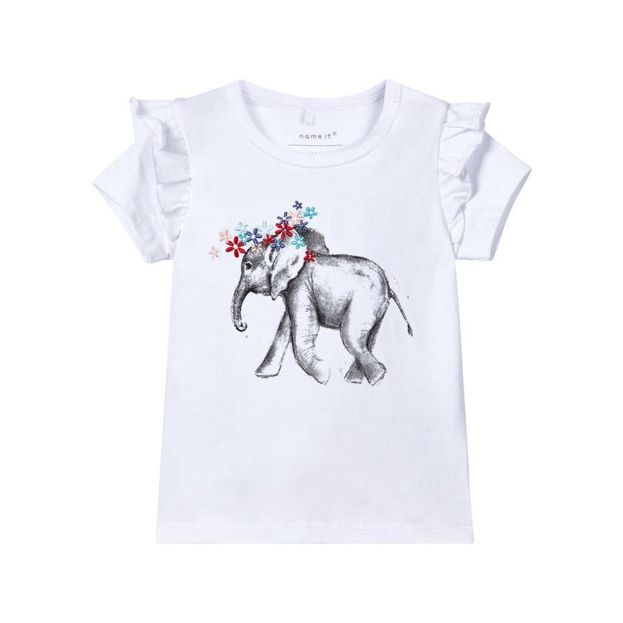 name it Girl s T-Shirt Gaka jaskrawo-biały, jasny, biały.