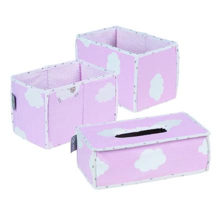 roba organizátory 3 dílný set malé mráčky růžové