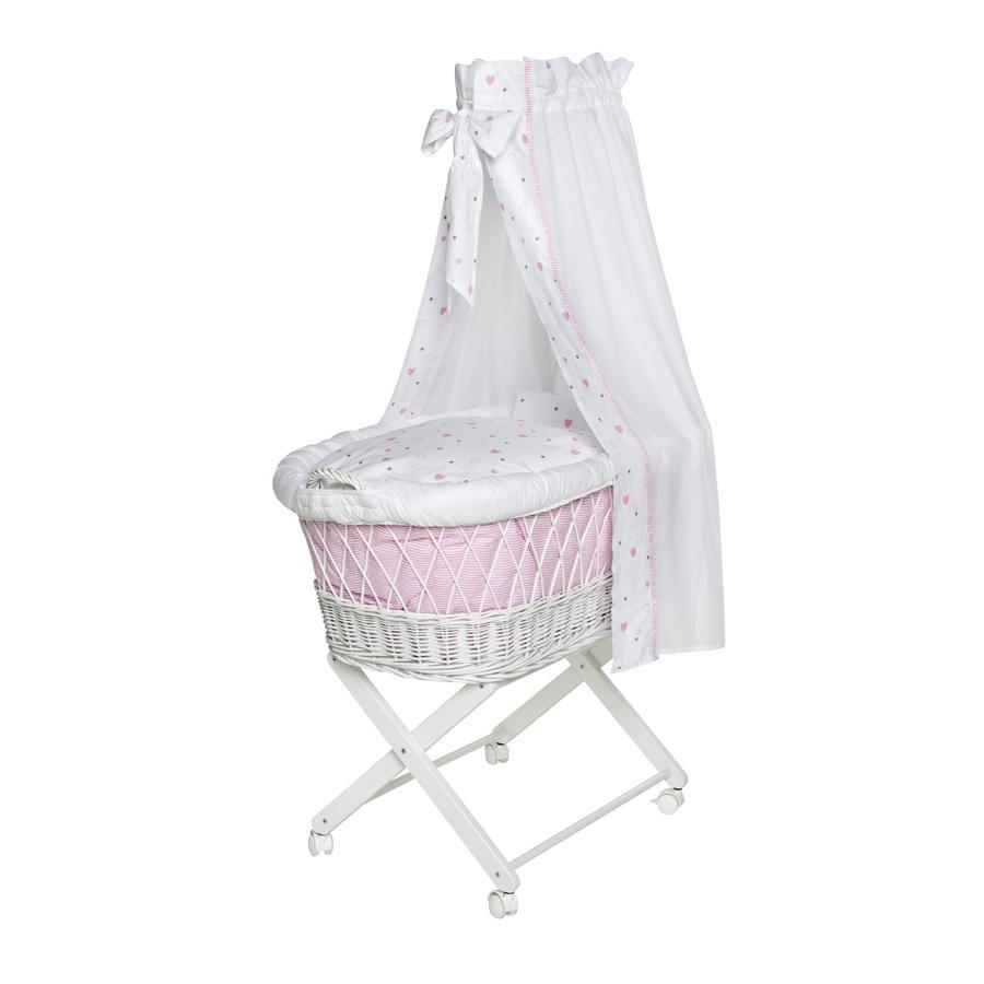 SCHARDT Košík na miminko Babsi bílý, šedé hvězdičky