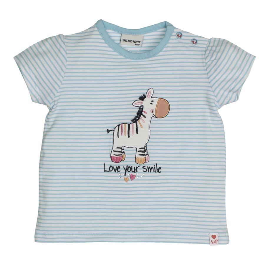 SALT AND PEPPER T-Shirt Love Zebra cyan clair