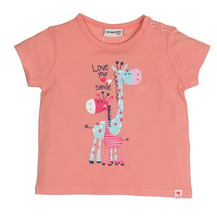SALT AND PEPPER Baby T-Shirt love print abrikoos