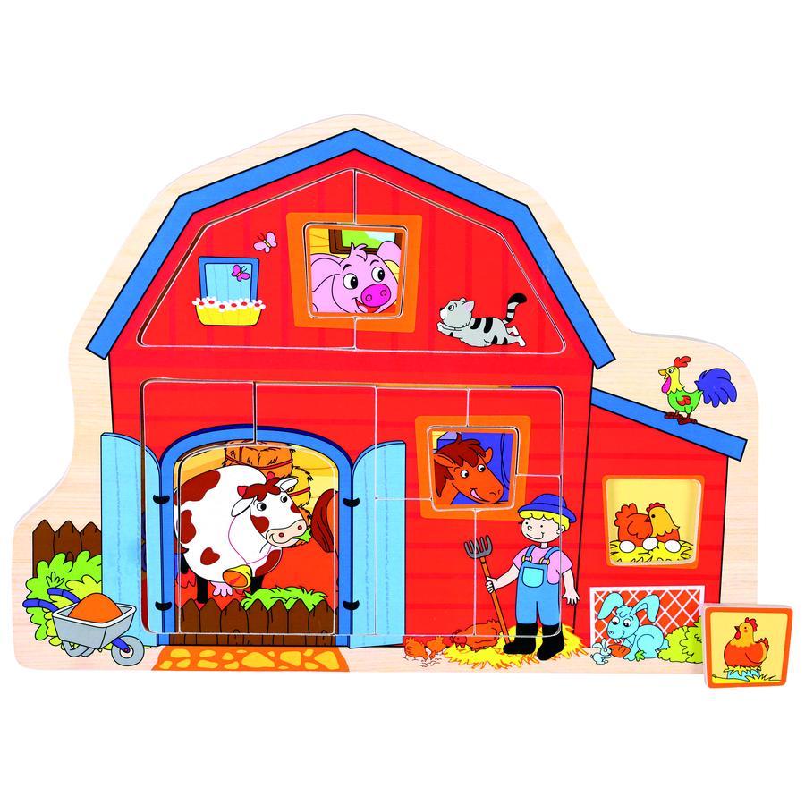 BINO Dřevěné vkládací puzzle Farma