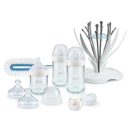 NUK Set iniziale biberon in vetro Nature Sense Premium bianco, dalla nascita, 8 pezzi