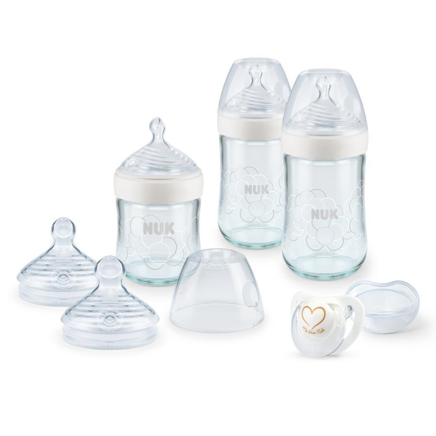NUK Coffret biberon verre Nature Sense 0 m+ blanc