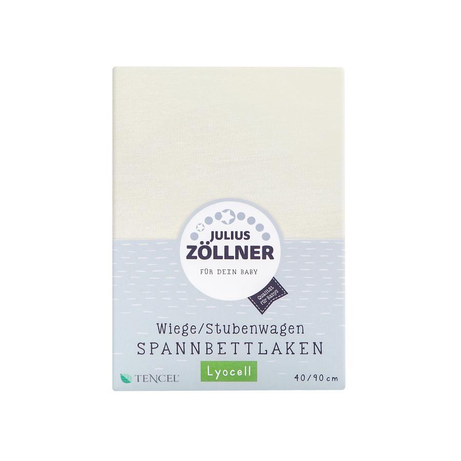 ZÖLLNER Dra-på-lakan Tencel för vagga beige/vit