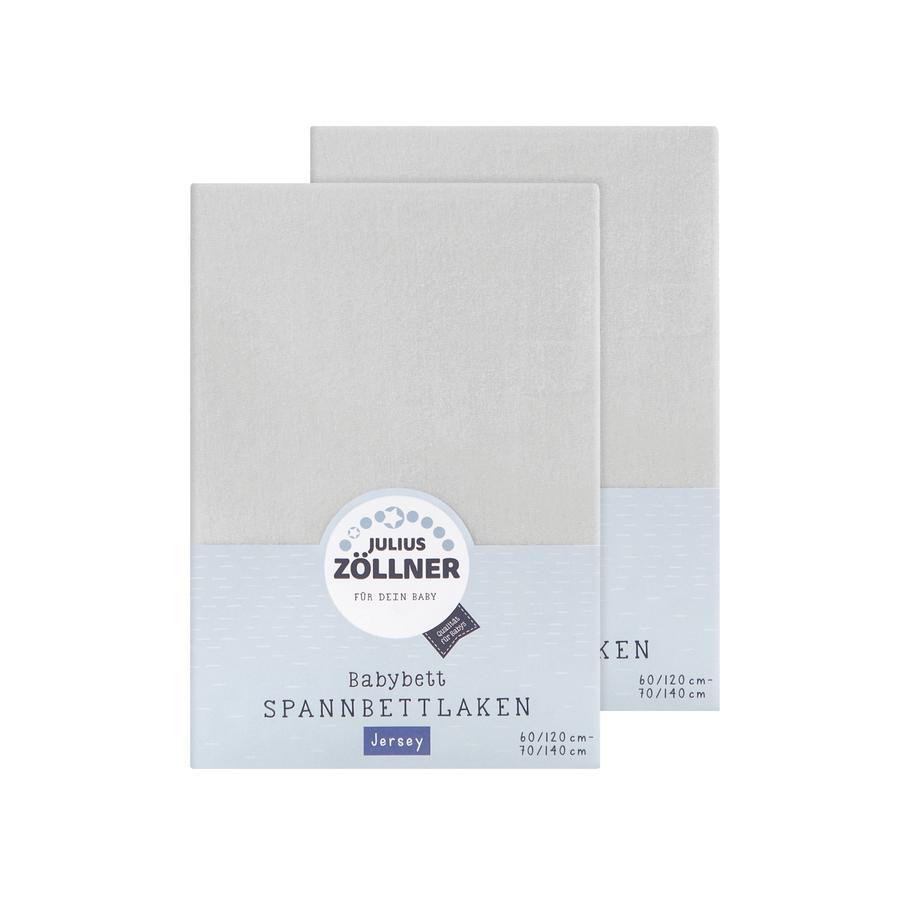 ZÖLLNER Lenzuolo in Jersey con Angoli Elastici pacco doppio Jersey grigio chiaro