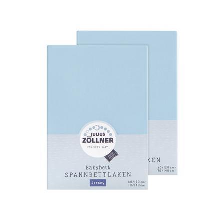 JULIUS ZÖLLNER Drap housse enfant Jersey bleu clair 60x120/70x140 cm 2 pcs