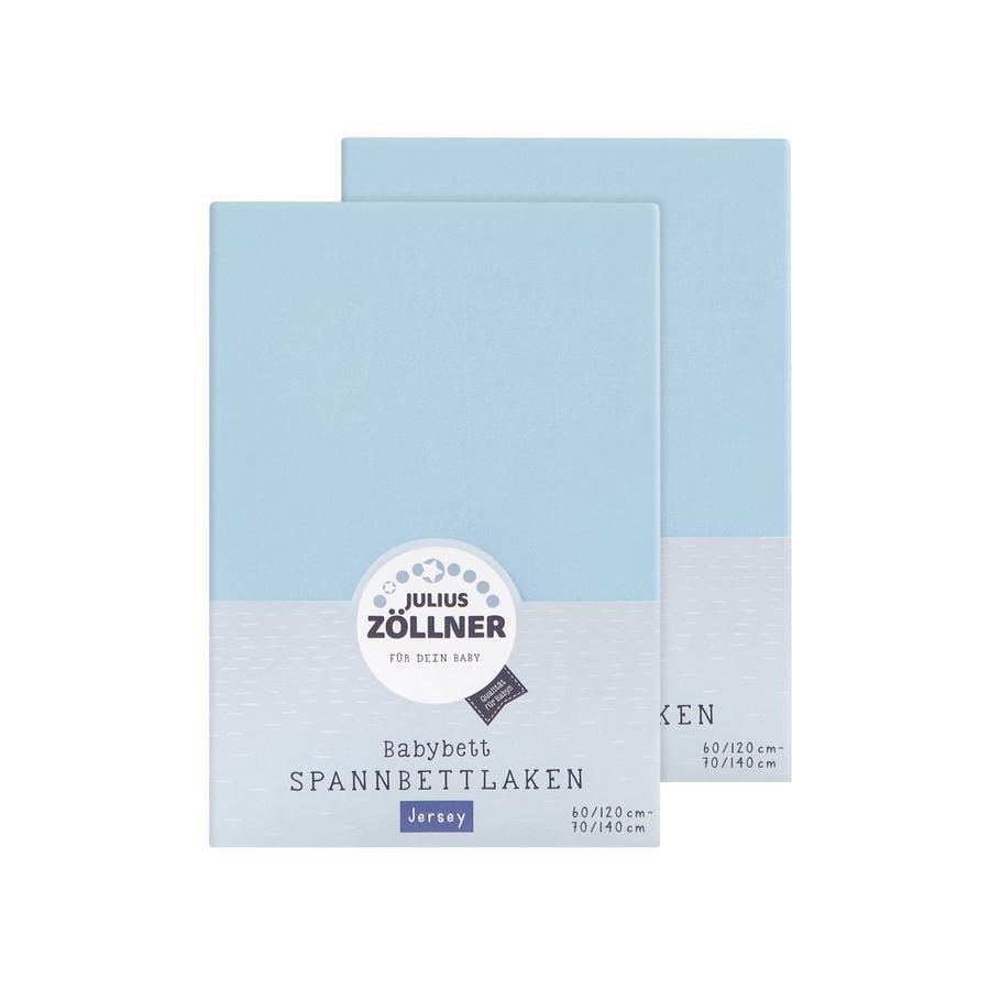 JULIUS ZÖLLNER Dra-på-lakan dubbelpack Jersey ljusblå