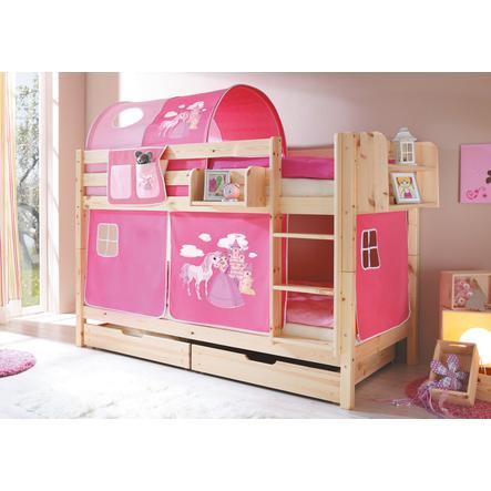 TiCAA Etagenbett Marcel natur Horse (pink)