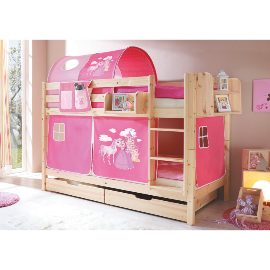 TiCAA Letto a castello Marcel in legno Horse (pink)