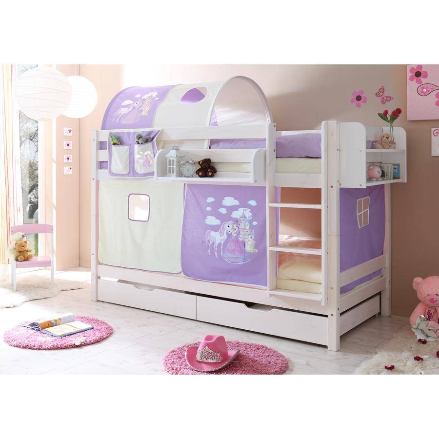 TICAA Patrová postel Marcel bílá Horse (lila)