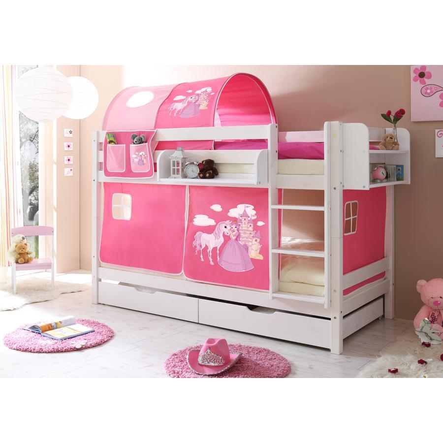 TiCAA Etagenbett Marcel weiß Horse (pink)