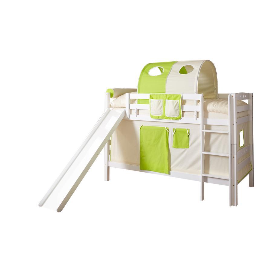 TiCAA Etagenbett mit Rutsche Lupo weiß beige-grün