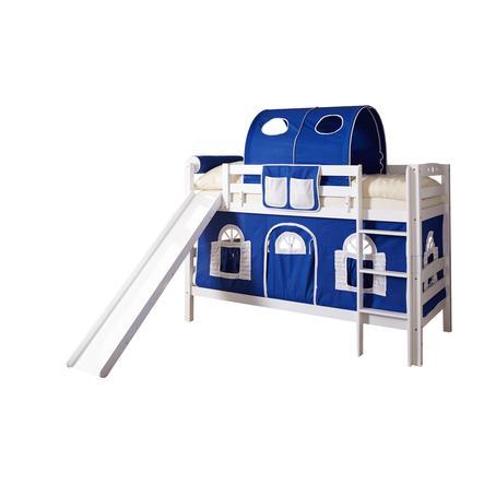 TiCAA Etagenbett mit Rutsche Lupo weiß blau-weiß