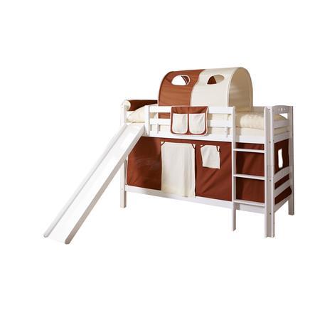 TiCAA Patrová postel se skluzavkou Lupo bílá, hnědo-béžová