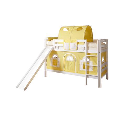 TiCAA Etagenbett mit Rutsche Lupo weiß gelb-weiß