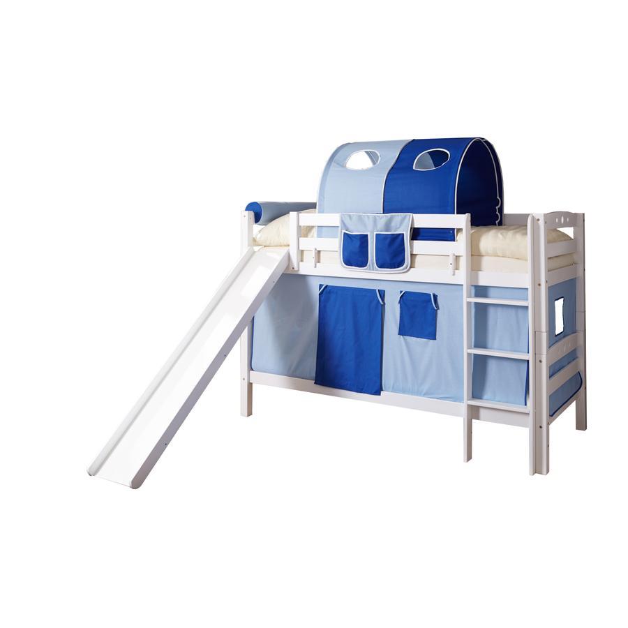 TiCAA Etagenbett mit Rutsche Lupo weiß hellblau-dunkelblau