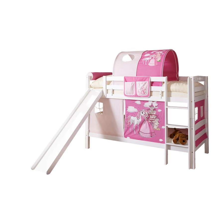 TiCAA Etagenbett mit Rutsche Lupo weiß Horse pink