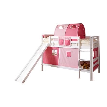 TiCAA Patrová postel se skluzavkou Lupo bílá, růžová - pink třídílná