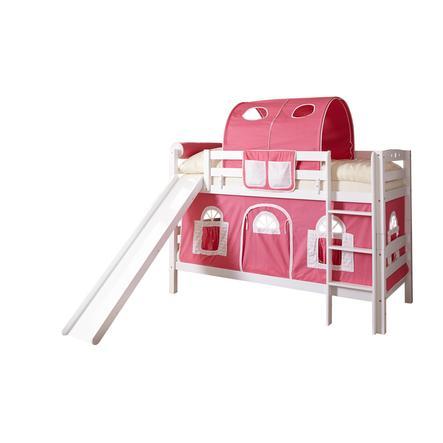 TiCAA Etagenbett mit Rutsche Lupo weiß rosa-weiß