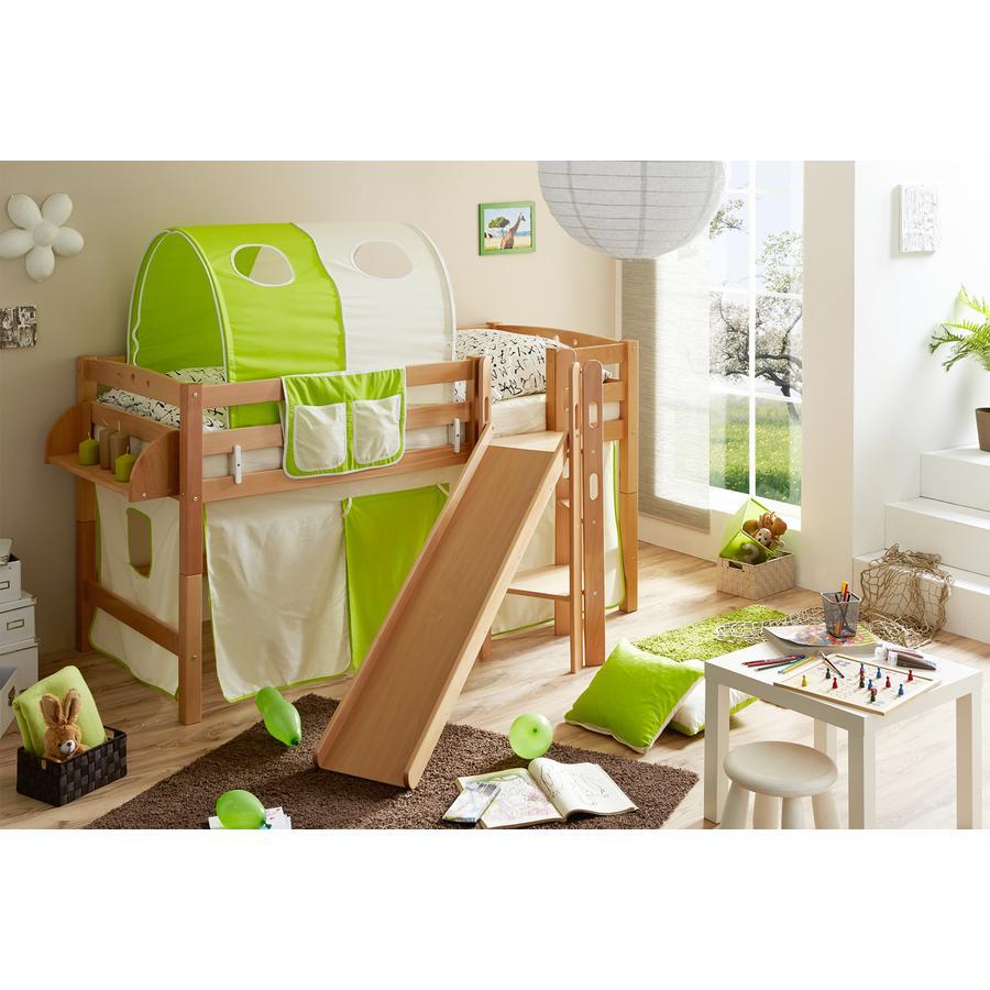 TICAA Patrová postel Tino natur béžovo-zelená se skluzavkou