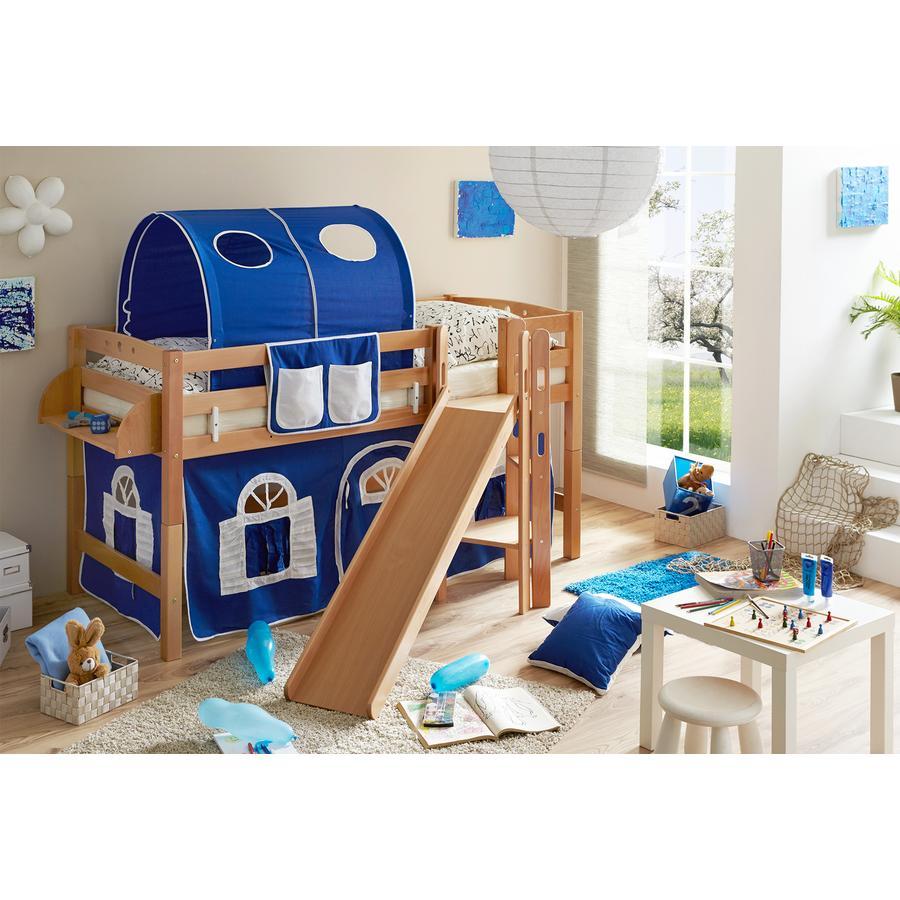 TiCAA Podestbett Tino natur blau - weiß mit Rutsche
