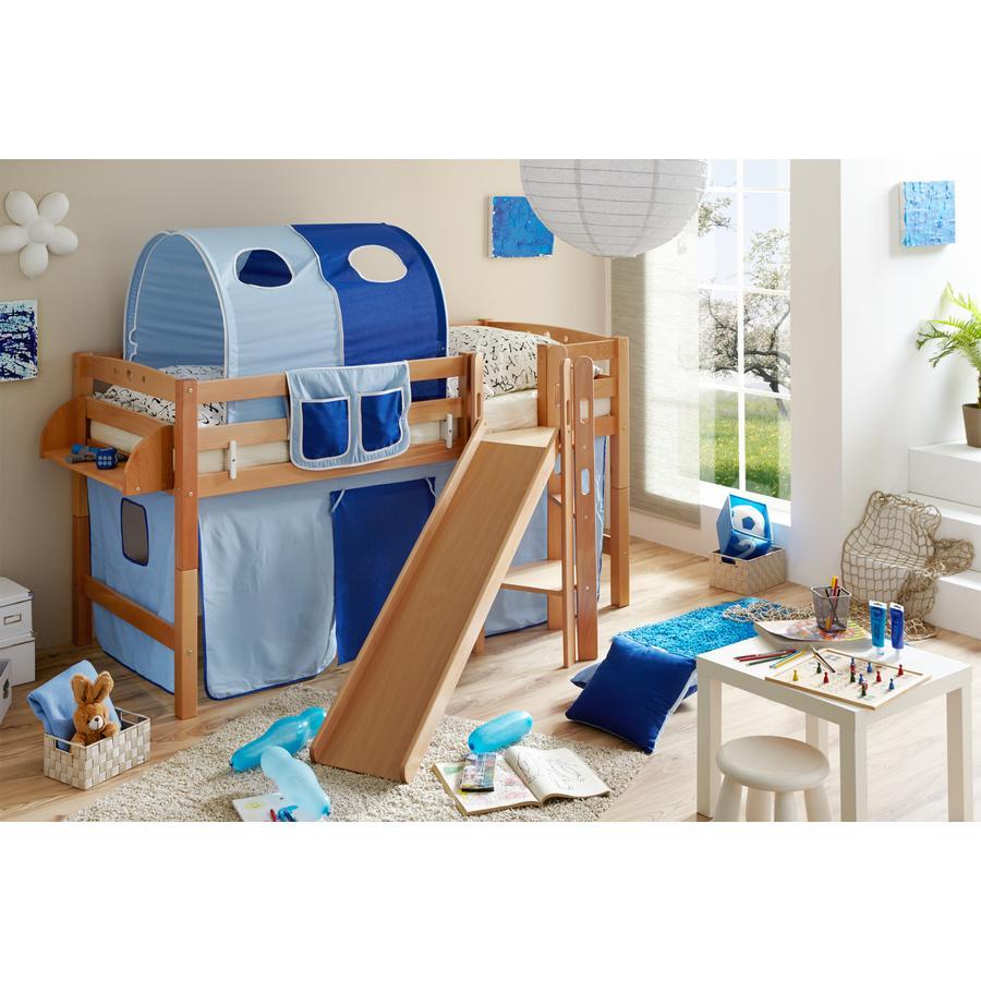 TiCAA Partová postel Tino natur světle modrá - tmavě modrá se skluzavkou