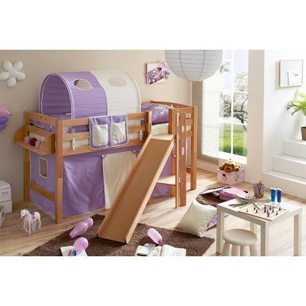 TiCAA Patrová postel Tino natur lila - béžová se skluzavkou