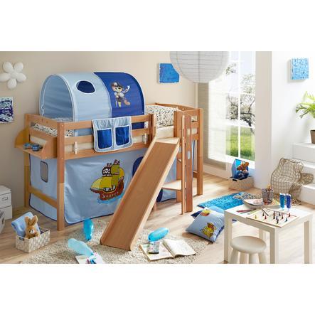 TiCAA Patrová postel Tino natur Pirát světle modrá - tmavě modrá s klouzačkou