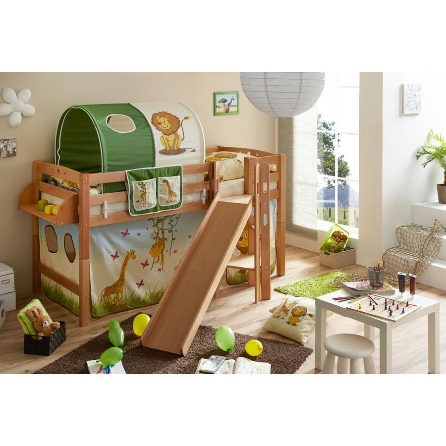 TiCAA Patrová postel Tino natur Safari s klouzačkou