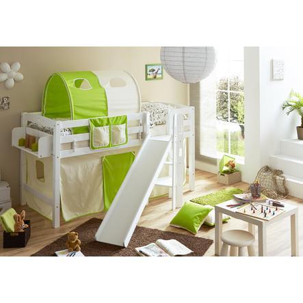 TiCAA Patrová postel Tino bílá, béžové - zelená s klouzačkou