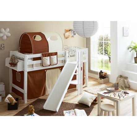 TiCAA Patrová postel Tino bílá, hnědo - béžová s klouzačkou