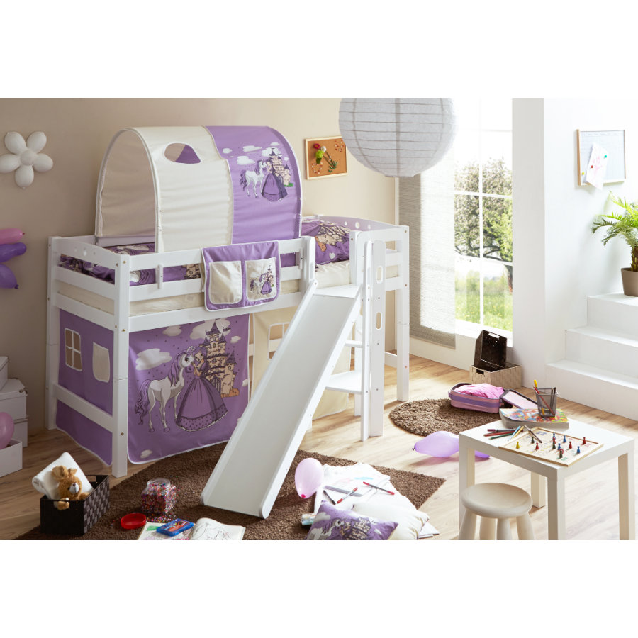 TiCAA Patrová postel Tino bílá, Horse (lila) s klouzačkou