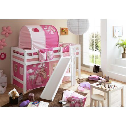 TiCAA Patrová postel Tino bílá, Horse (pink) s klouzačkou