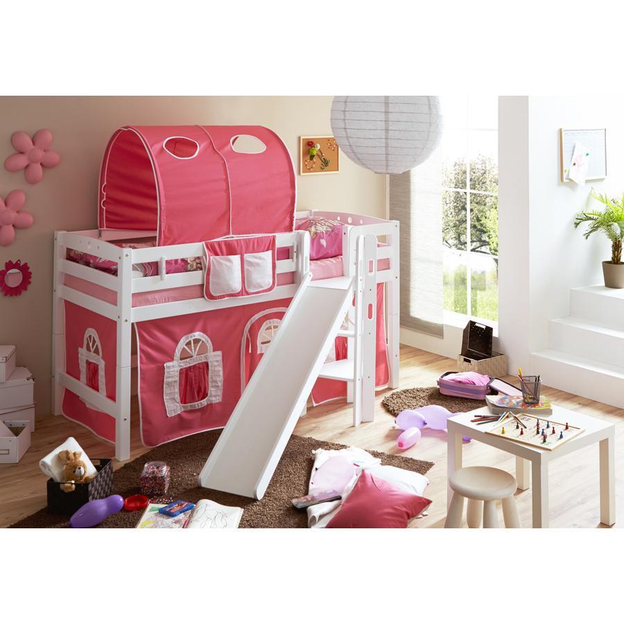TiCAA Patrová postel Tino bílá, růžovo - bílá s klouzačkou