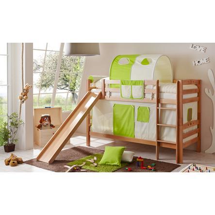 TiCAA Patrová postel Lupo natur béžovo - zelená se skluzavkou
