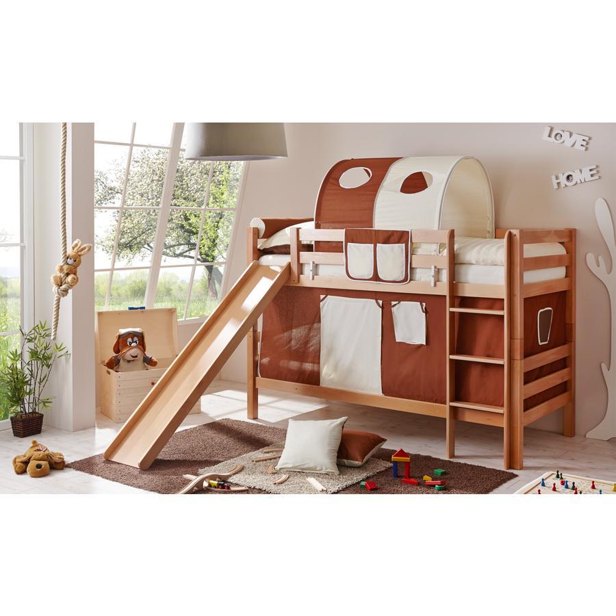 TiCAA patrová postel Lupo natur hnědo - béžová s klouzačkou