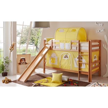 TiCAA Etagenbett mit Rutsche Lupo natur gelb-weiß