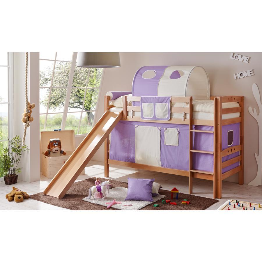 TiCAA Patrová postel Lupo natur lila - béžová s klouzačkou