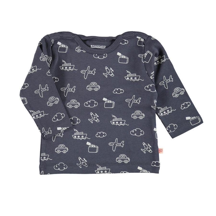 STACCATO Camisa de manga larga azul gris con estampado