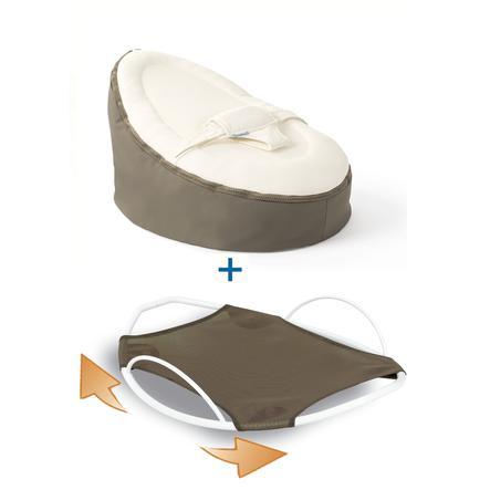 Doomoo Puf Original con accesorio balancín, gris-blanco