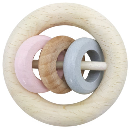 HESS Hochet rond 3 anneaux rose, bois