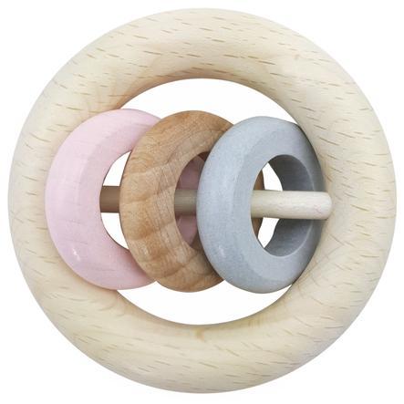 HESS kulaté chrastítko 3 prsteny růžové