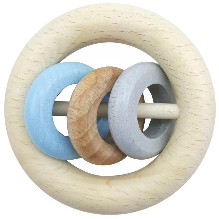 HESS Hochet rond 3 anneaux bleu, bois