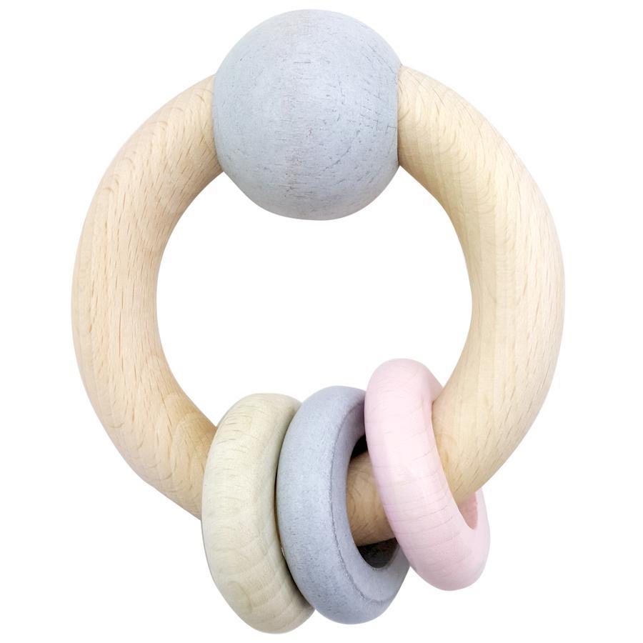 HESS Hochet rond boule anneaux rose, bois