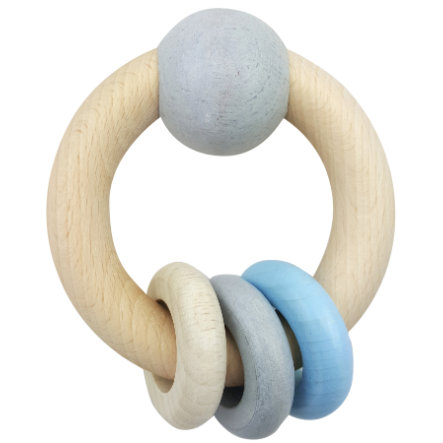 HESS Hochet rond boule anneaux bleu, bois