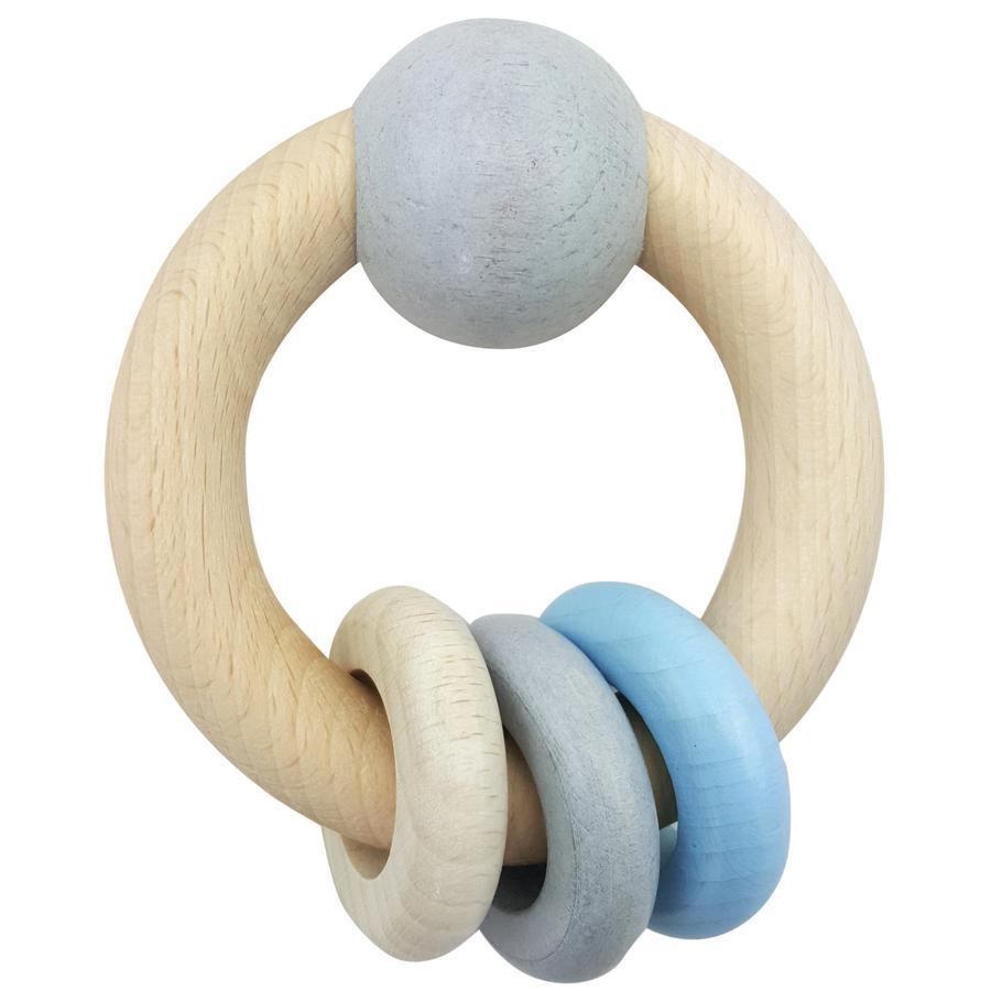 HESS Round Rattle Ball & Ringer blå