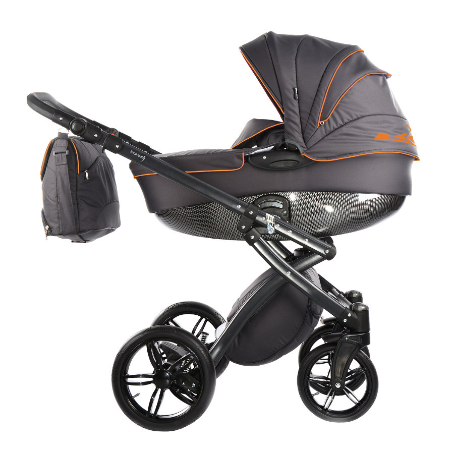 knorr-baby Cochecito combinable Alive be Carbon gris oscuro-naranja