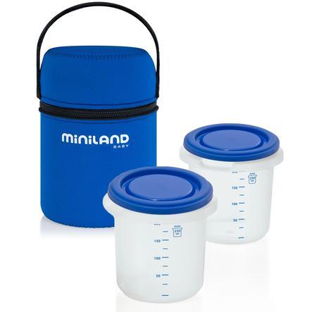 miniland Sac isotherme Pack-2-go, 2 pots 2x250 ml bleu